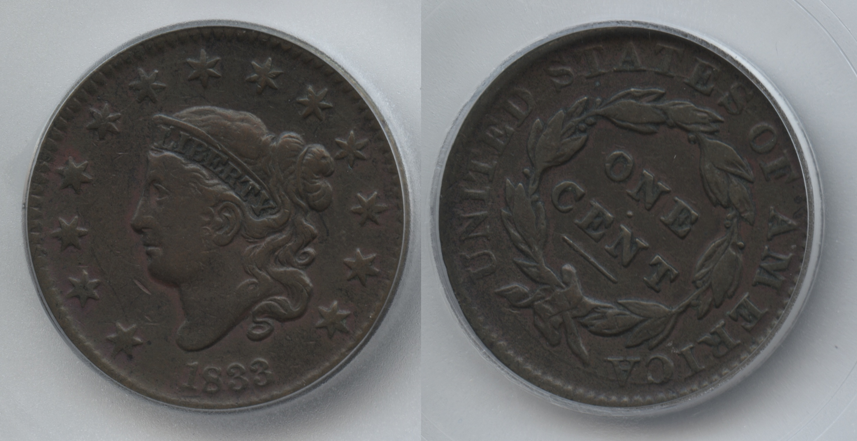 1833 Large Cent ICG VF-20