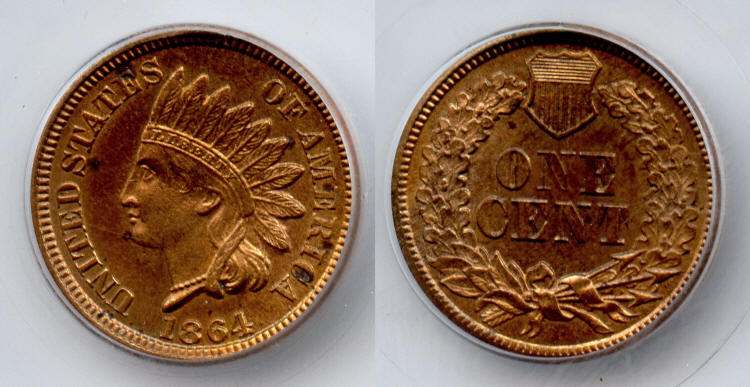 1864 Bronze Indian Head Cent SEGS MS-62 Red Brown small