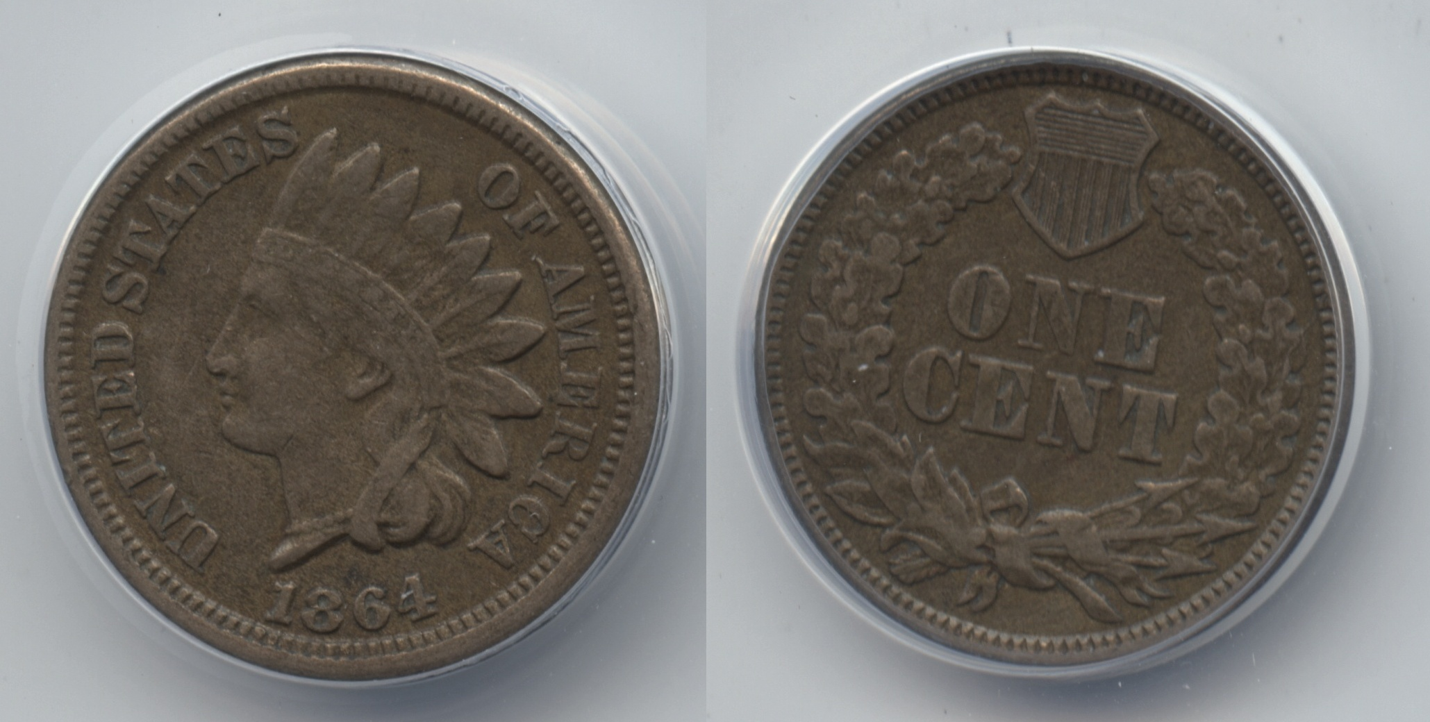 1864 Copper Nickel Indian Head Cent ANACS EF-40