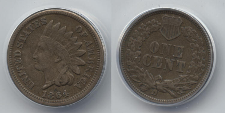 1864 Copper Nickel Indian Head Cent ANACS EF-40 small