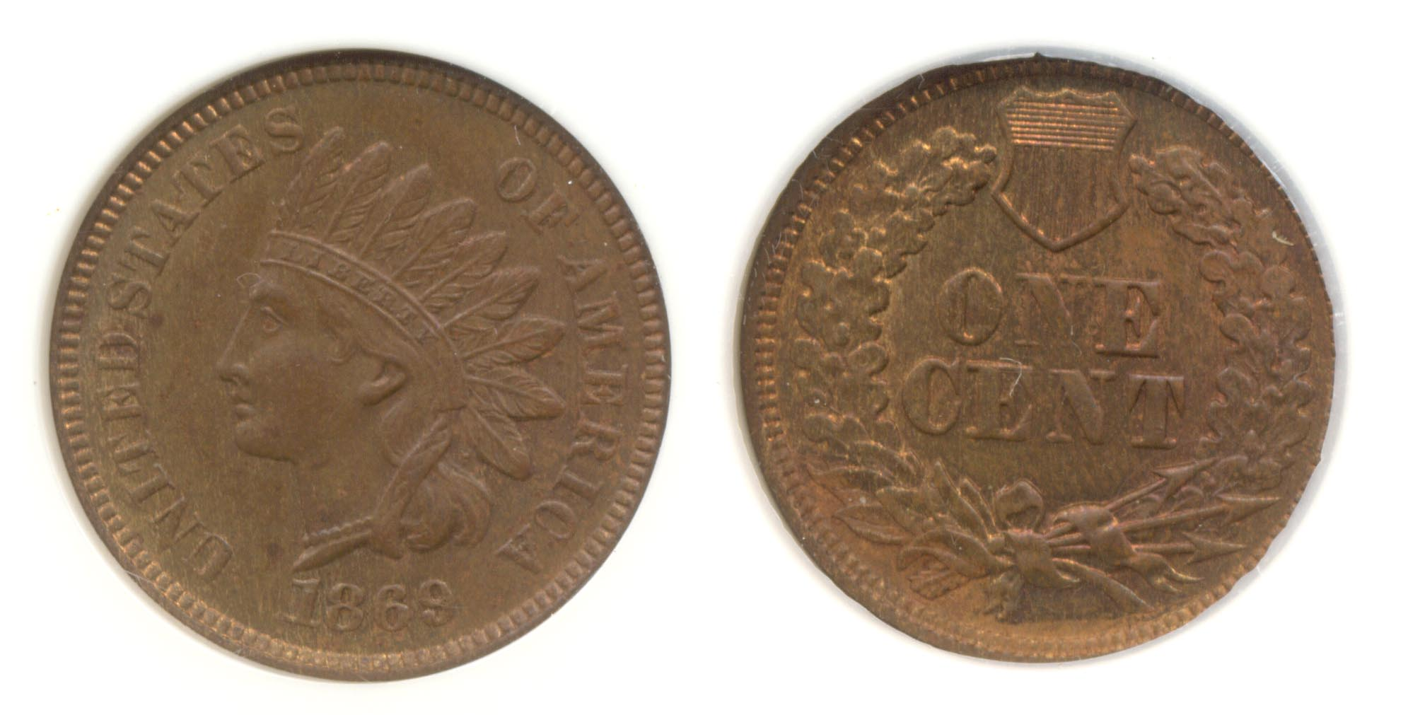 1869 Indian Head Cent NGC MS-65 Brown