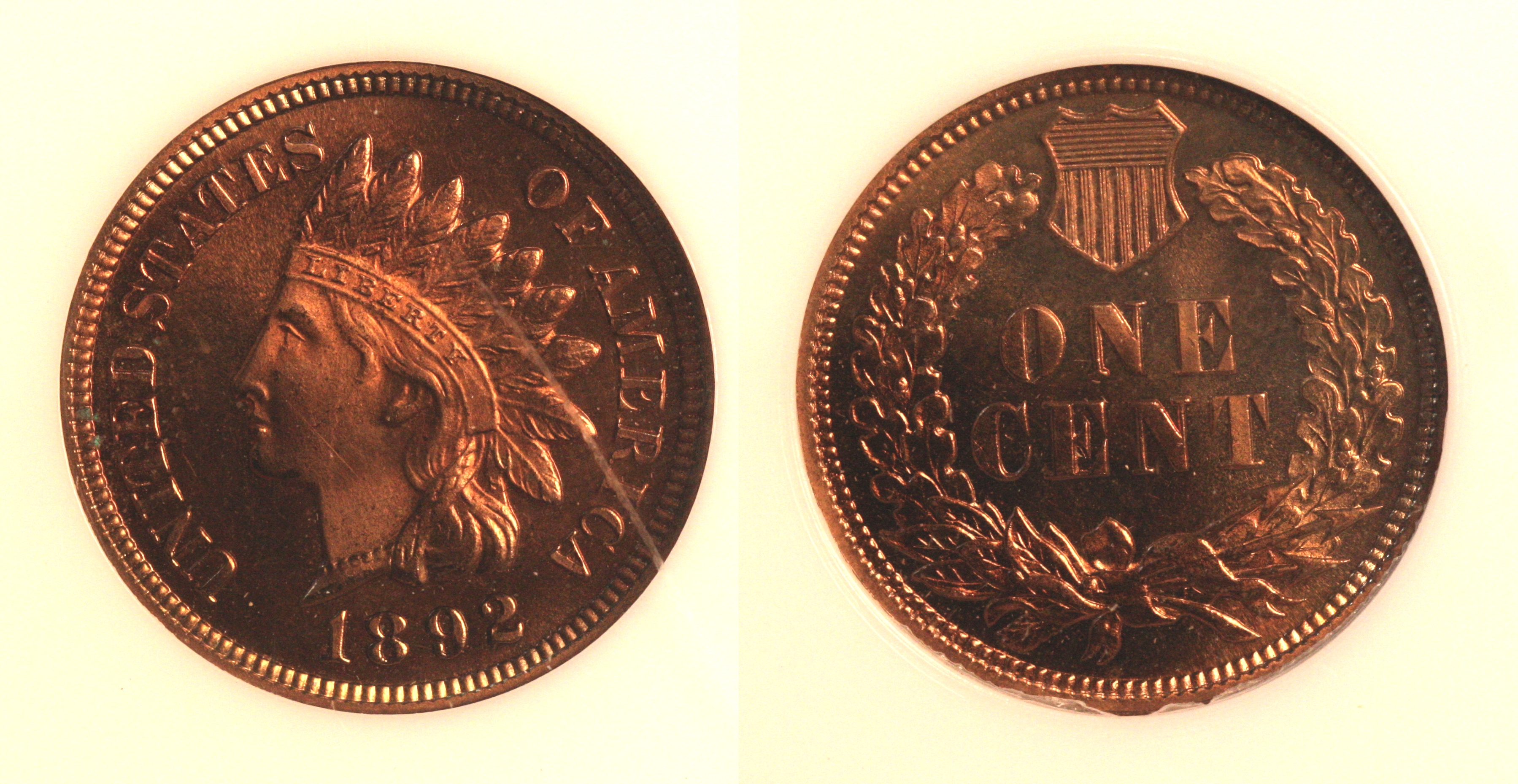 1892 Indian Head Cent PCI Proof-65 Red camera