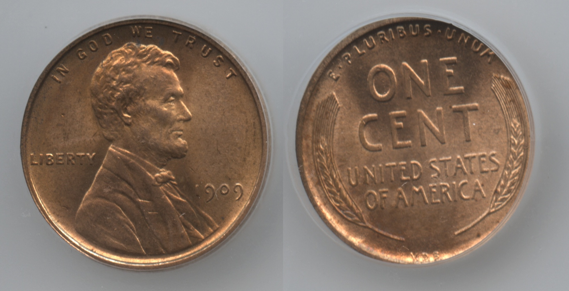 1909 VDB Lincoln Cent ICG MS-64 Red