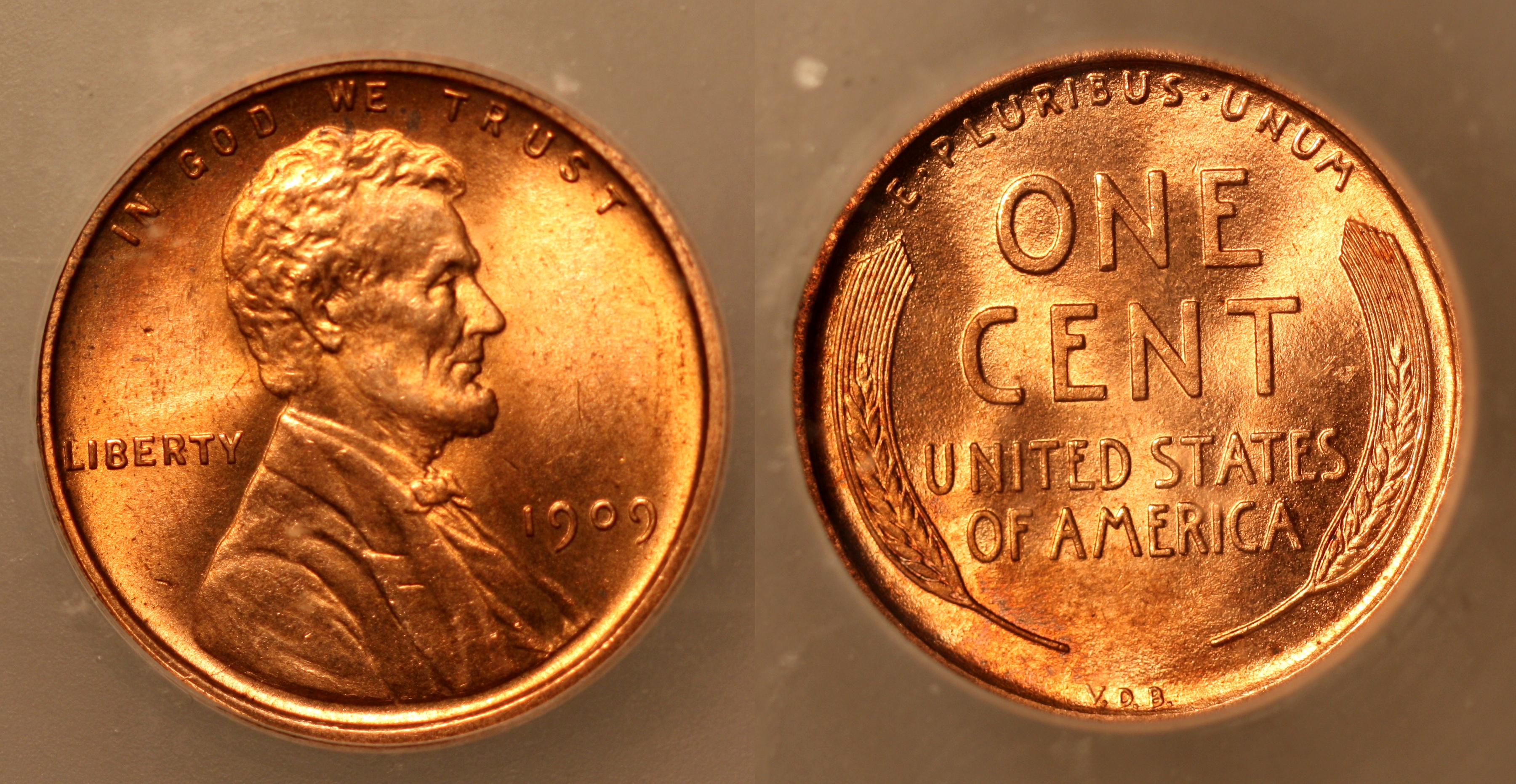 1909 VDB Lincoln Cent ICG MS-64 Red camera