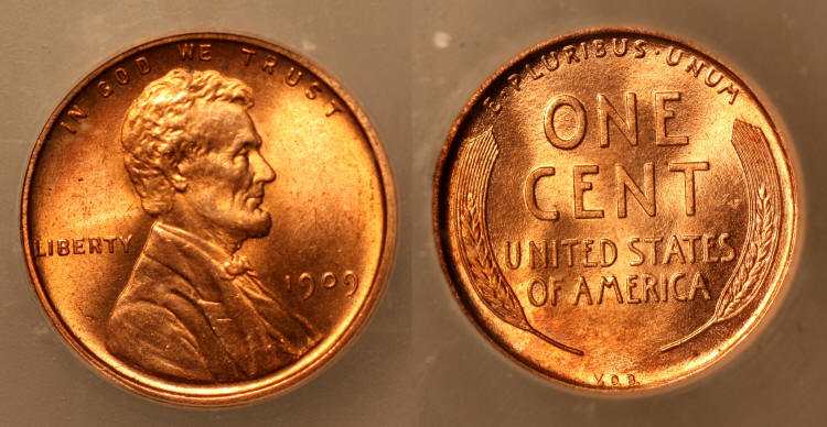 1909 VDB Lincoln Cent ICG MS-64 Red camera small