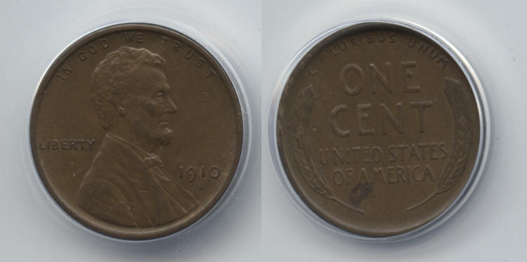 1910-S Lincoln Cent ANACS AU-50 small