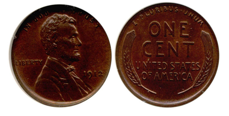 1912 Lincoln Cent PCI MS-64 Red Brown small