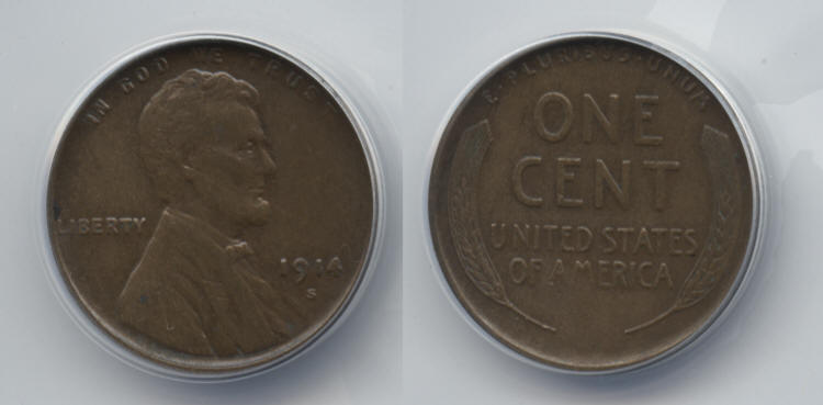 1914-S Lincoln Cent ANACS AU-50 small