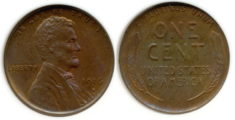 1916-S Lincoln Cent ANACS MS-65 Red and Brown small