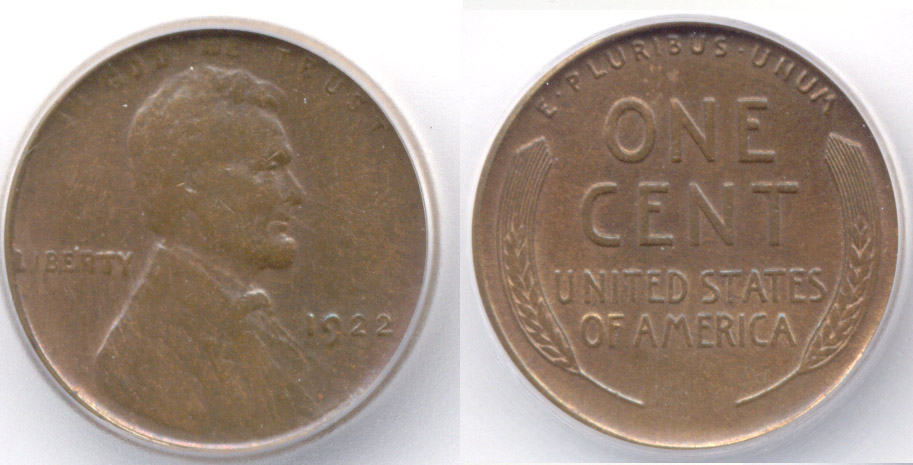 1922 No D Lincoln Cent ICG EF-45