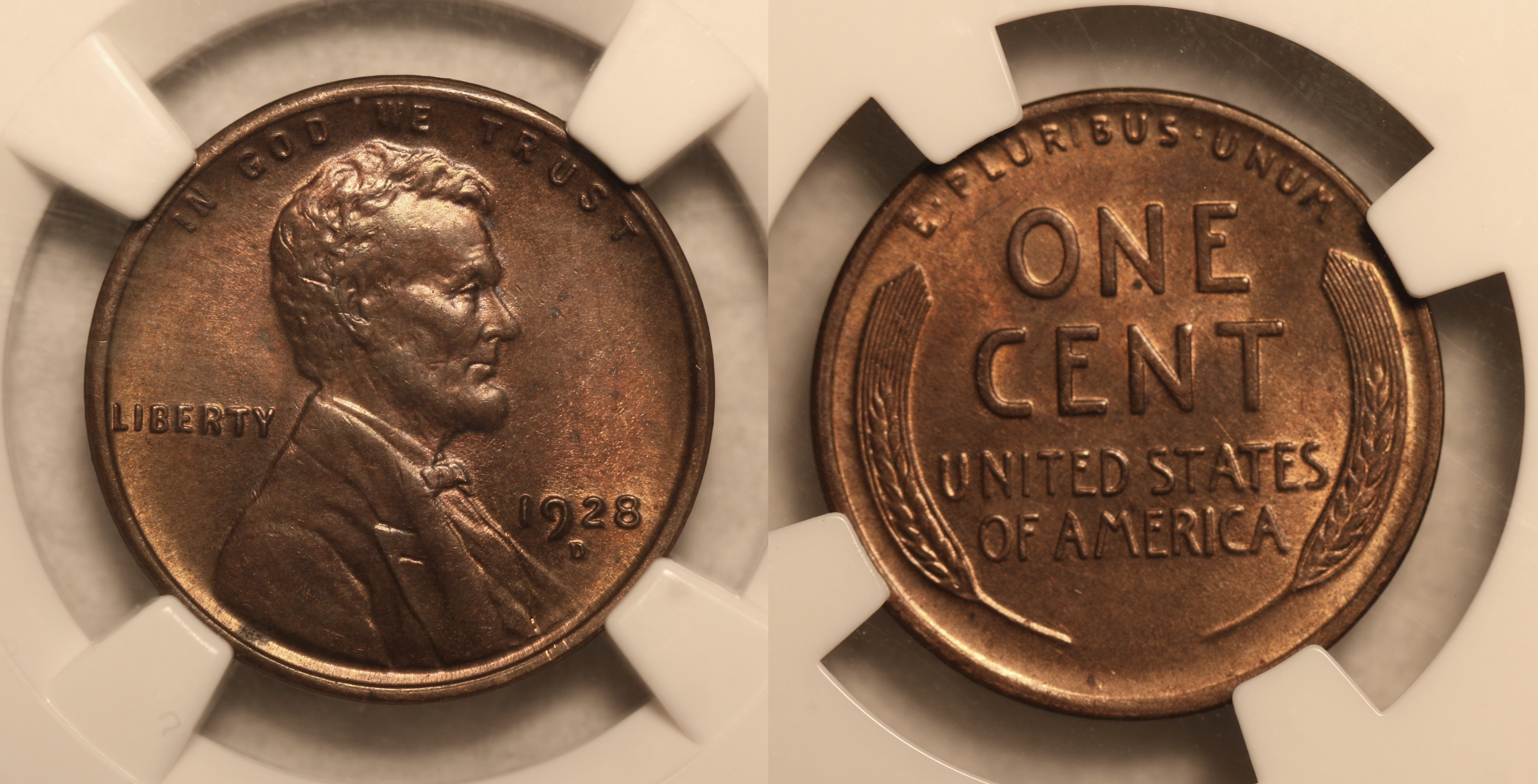 1928-D Lincoln Cent NGC MS-63 RB camera