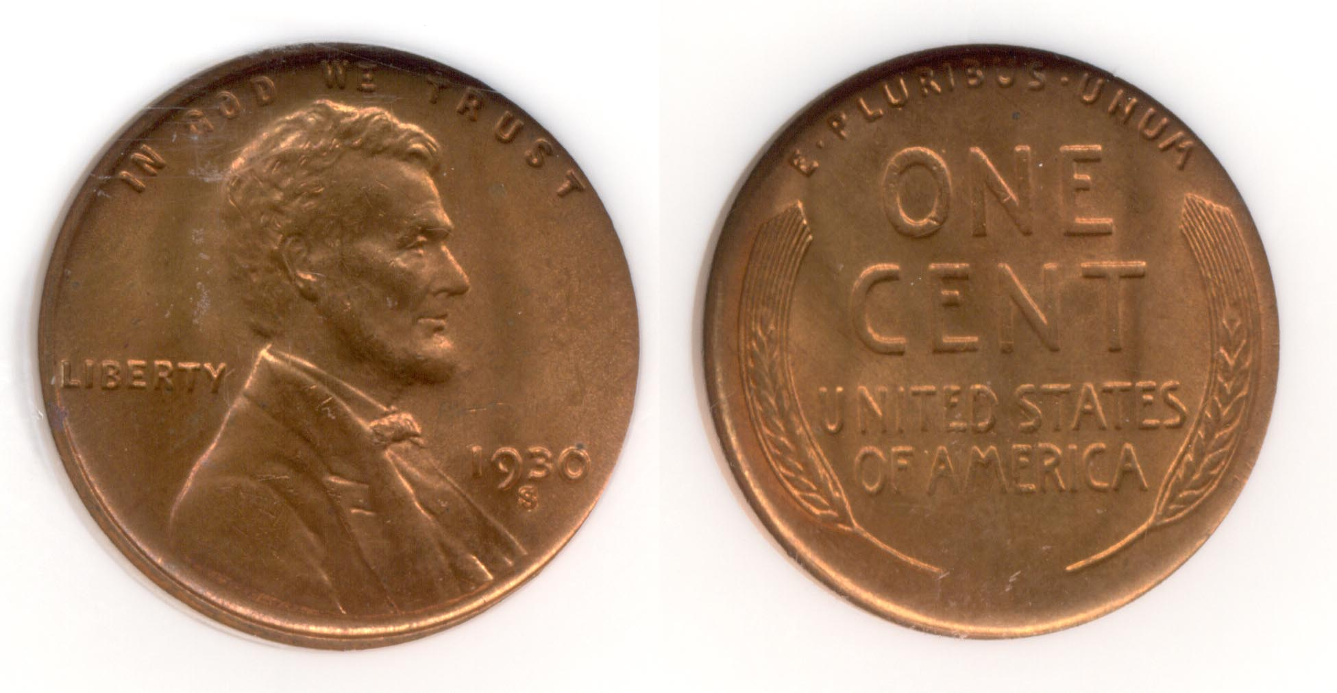 1930-S Lincoln Cent NGC MS-65 Red b