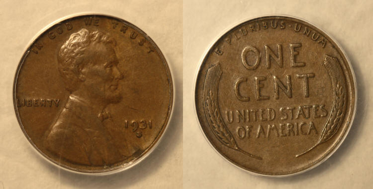1931-S Lincoln Cent ANACS EF-40 #a camera small