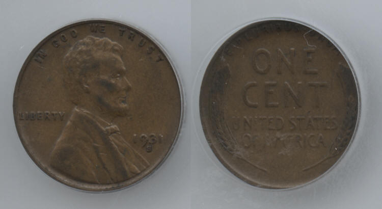 1931-S Lincoln Cent ICG VF-35 small