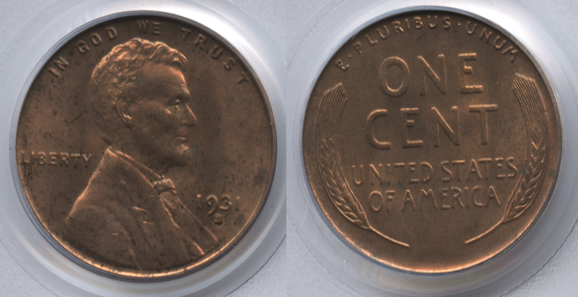 1931-S Lincoln Cent PCGS MS-63 Red Brown