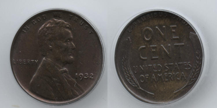 1932 Lincoln Cent ICG MS-65 Brown small