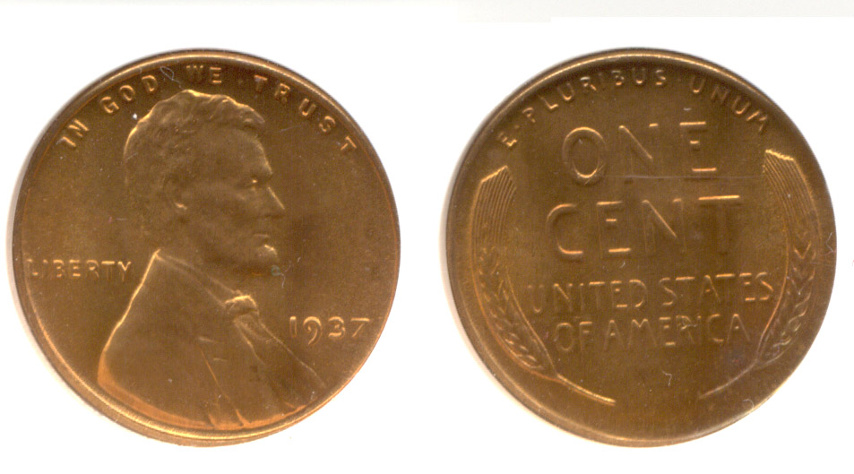 1937 Lincoln Cent ANACS MS-66 Red