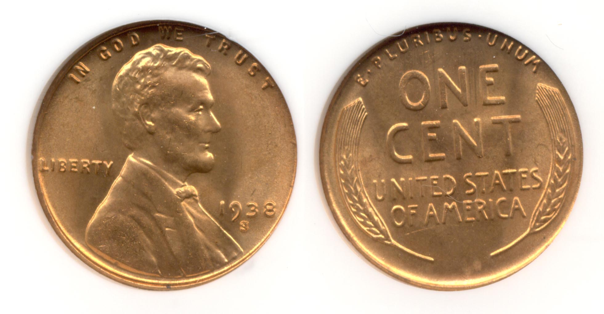 1938-S Lincoln Cent NGC MS-66 Red d