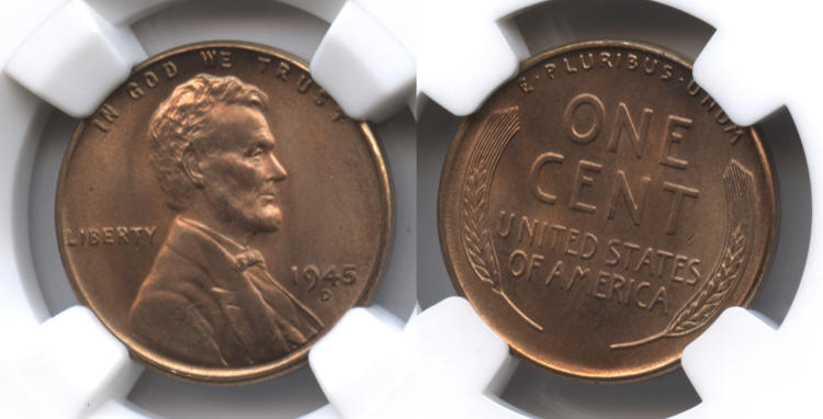 1945-D Lincoln Cent NGC MS-66 Red #f small
