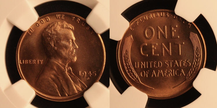1945-D Lincoln Cent NGC MS-66 Red #f camera small