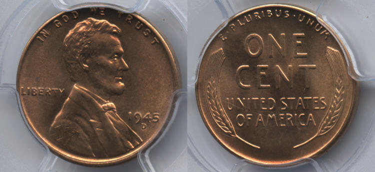 1945-D Lincoln Cent PCGS MS-66 Red small
