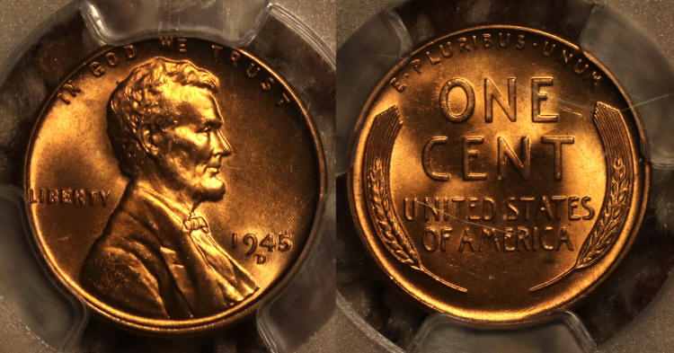 1945-D Lincoln Cent PCGS MS-66 Red camera small