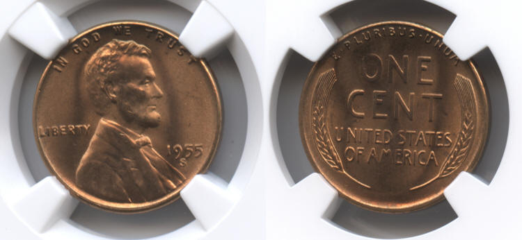 1955-S Lincoln Cent NGC MS-66 Red #k small
