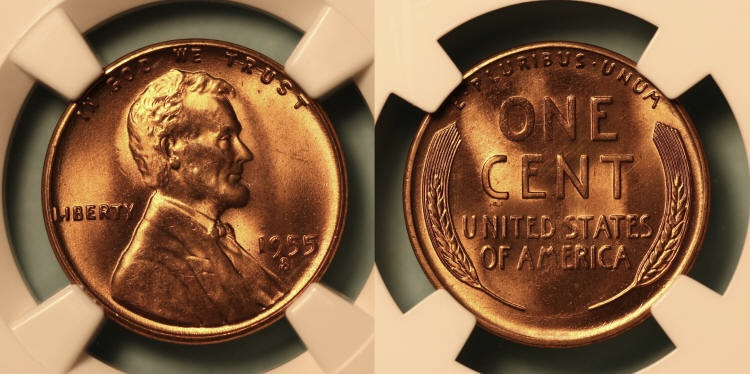 1955-S Lincoln Cent NGC MS-66 Red #k camera small