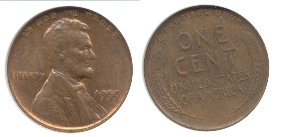 1955 Doubled Die Lincoln Cent ANACS MS-63 Red Brown