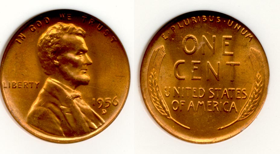 1956-D Lincoln Cent ANACS MS-66 Red