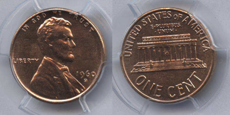 1960-D Small Date Lincoln Cent PCGS MS-63 Red #j small