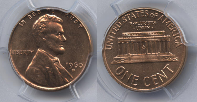 1960-D Small Date Lincoln Cent PCGS MS-64 Red #a small