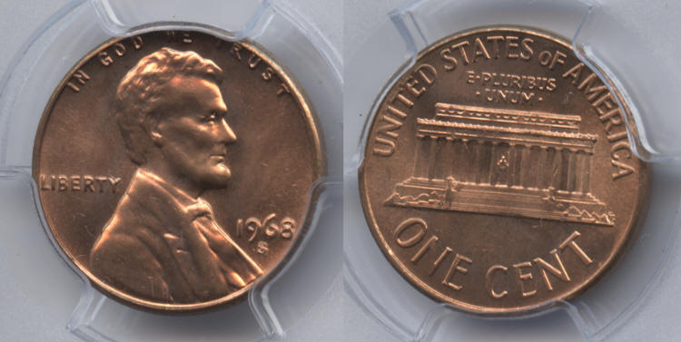 1968-S Lincoln Cent PCGS MS-65 Red small