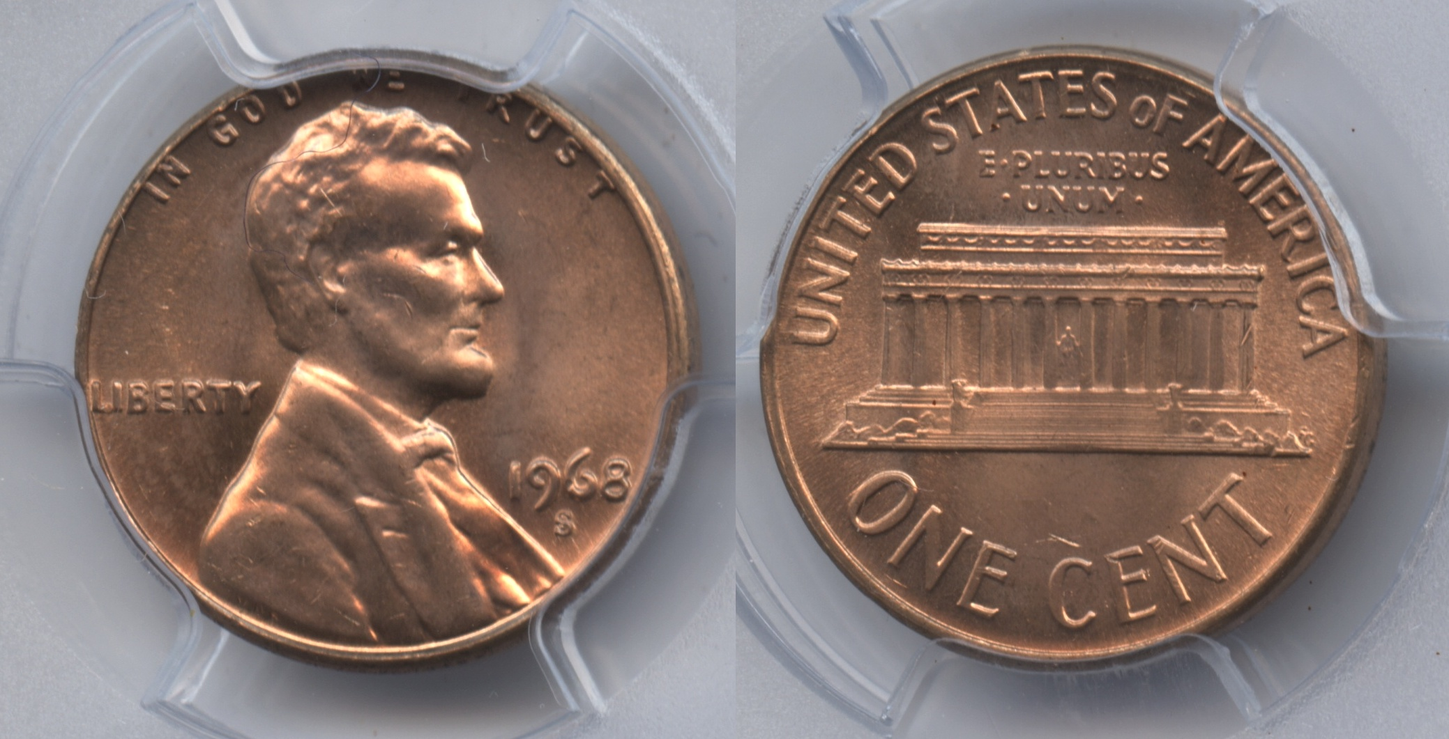 1968-S Lincoln Cent PCGS MS-65 Red #a