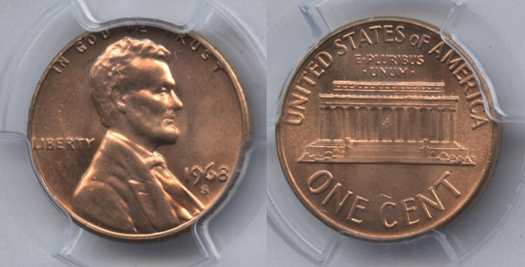 1968-S Lincoln Cent PCGS MS-65 Red #a small