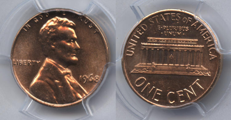 1968 Lincoln Cent PCGS MS-65 Red #b small