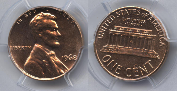 1968 Lincoln Cent PCGS MS-65 Red #f small