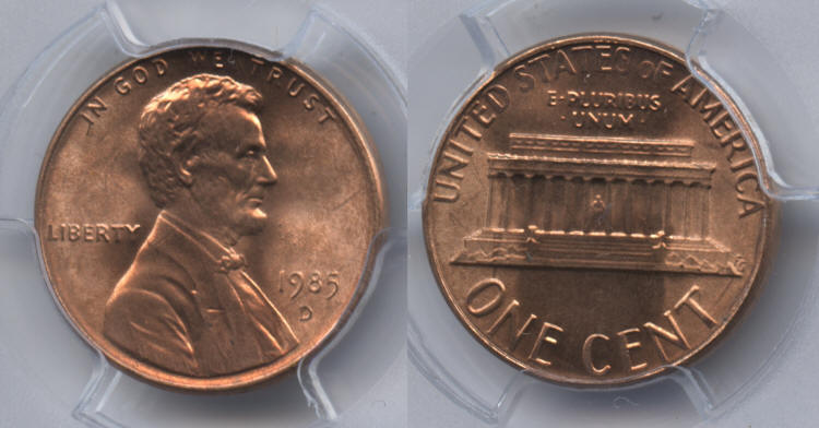 1985-D Lincoln Cent PCGS MS-67 Red small