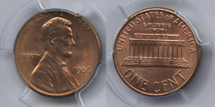 1986 Lincoln Cent PCGS MS-66 Red #a small