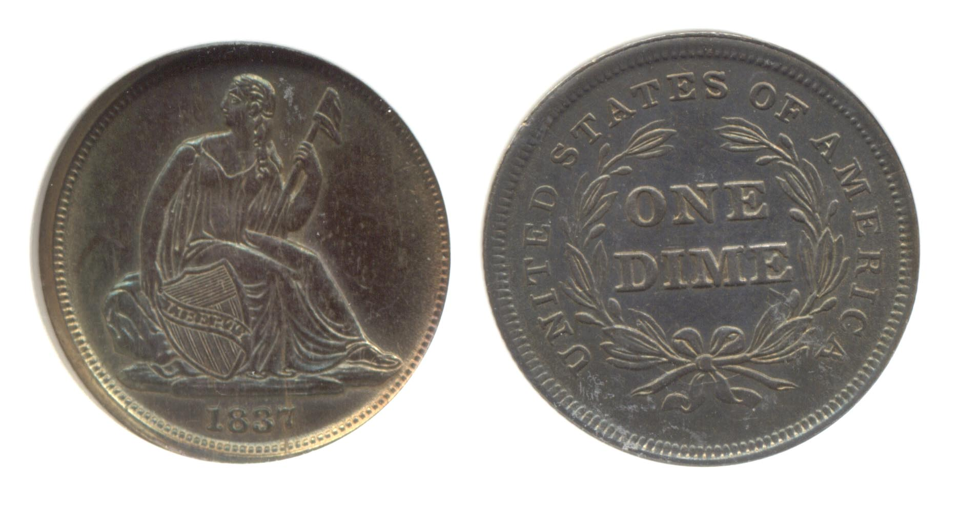 1837 No Stars Seated Liberty Dime PCI MS-64