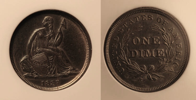 1837 No Stars Seated Liberty Dime PCI MS-64 camera small