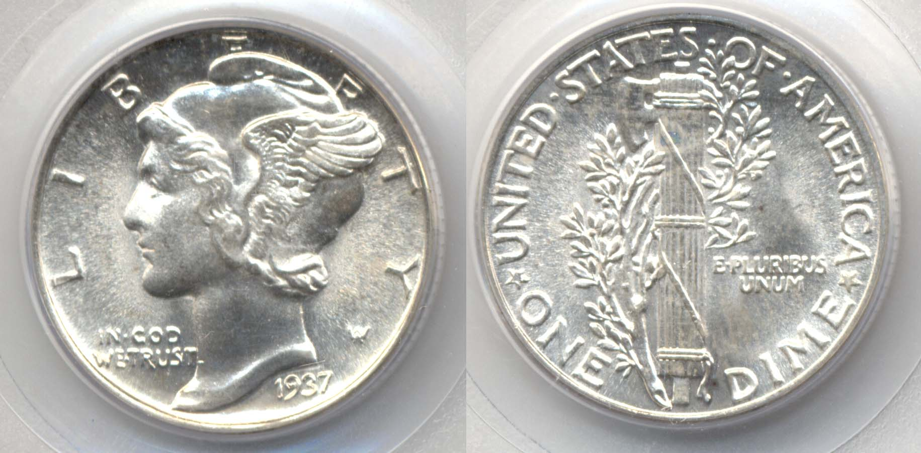 1937 Mercury Dime PCGS MS-66 FB