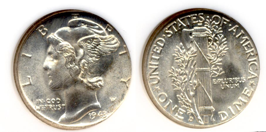 1943-D Mercury Dime NGC MS-67