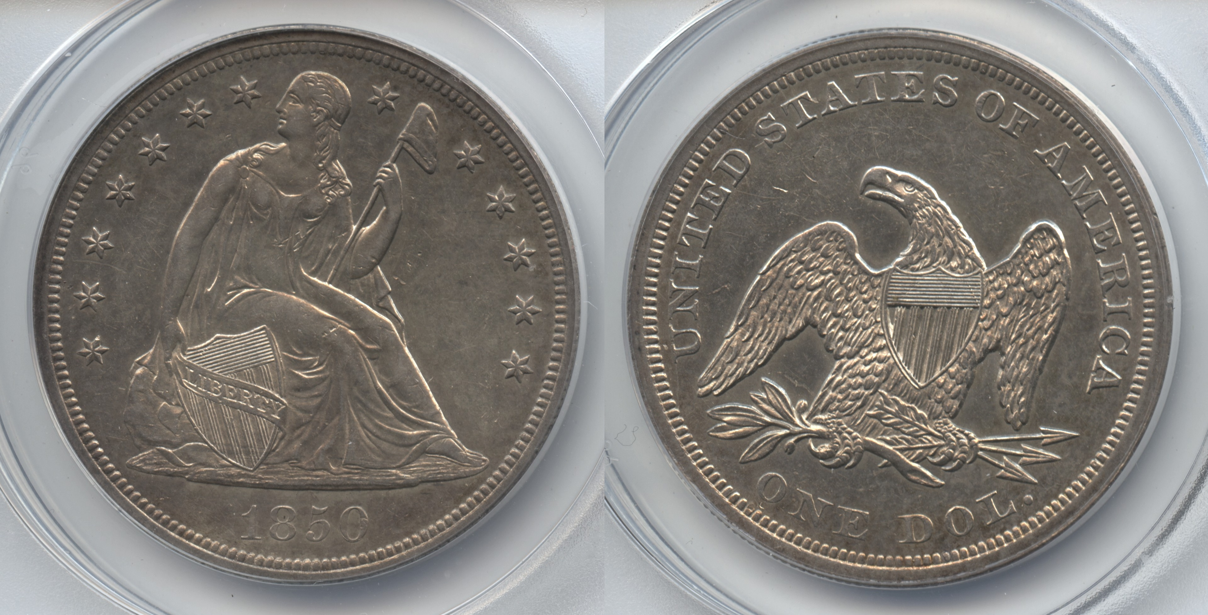 1850 Seated Liberty Silver Dollar ANACS MS-60