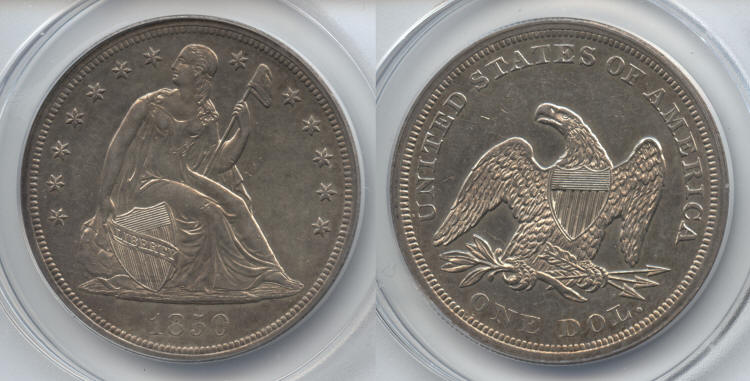 1850 Seated Liberty Silver Dollar ANACS MS-60 small