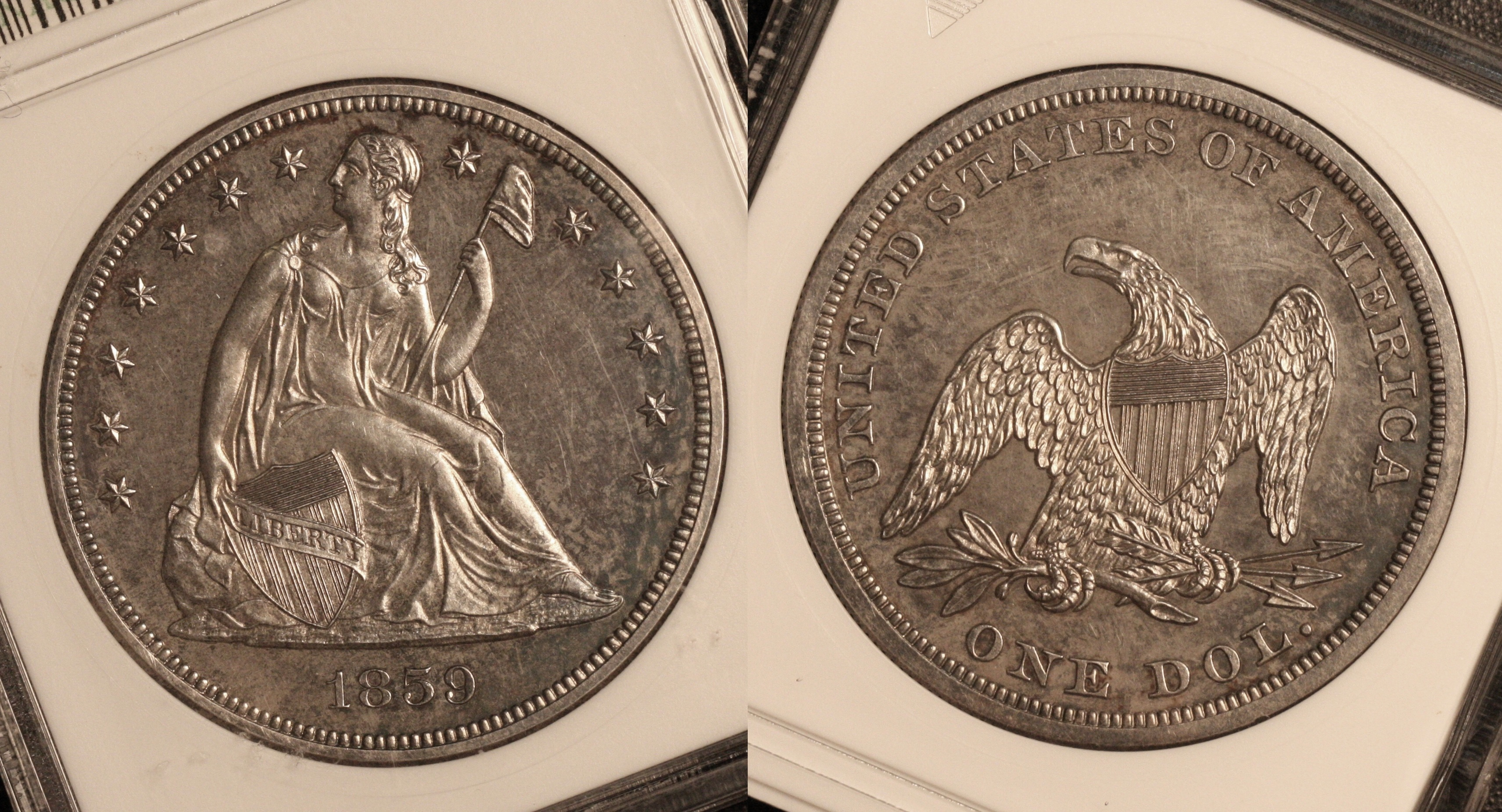 1859 Seated Liberty Silver Dollar ANACS Proof-64 camera