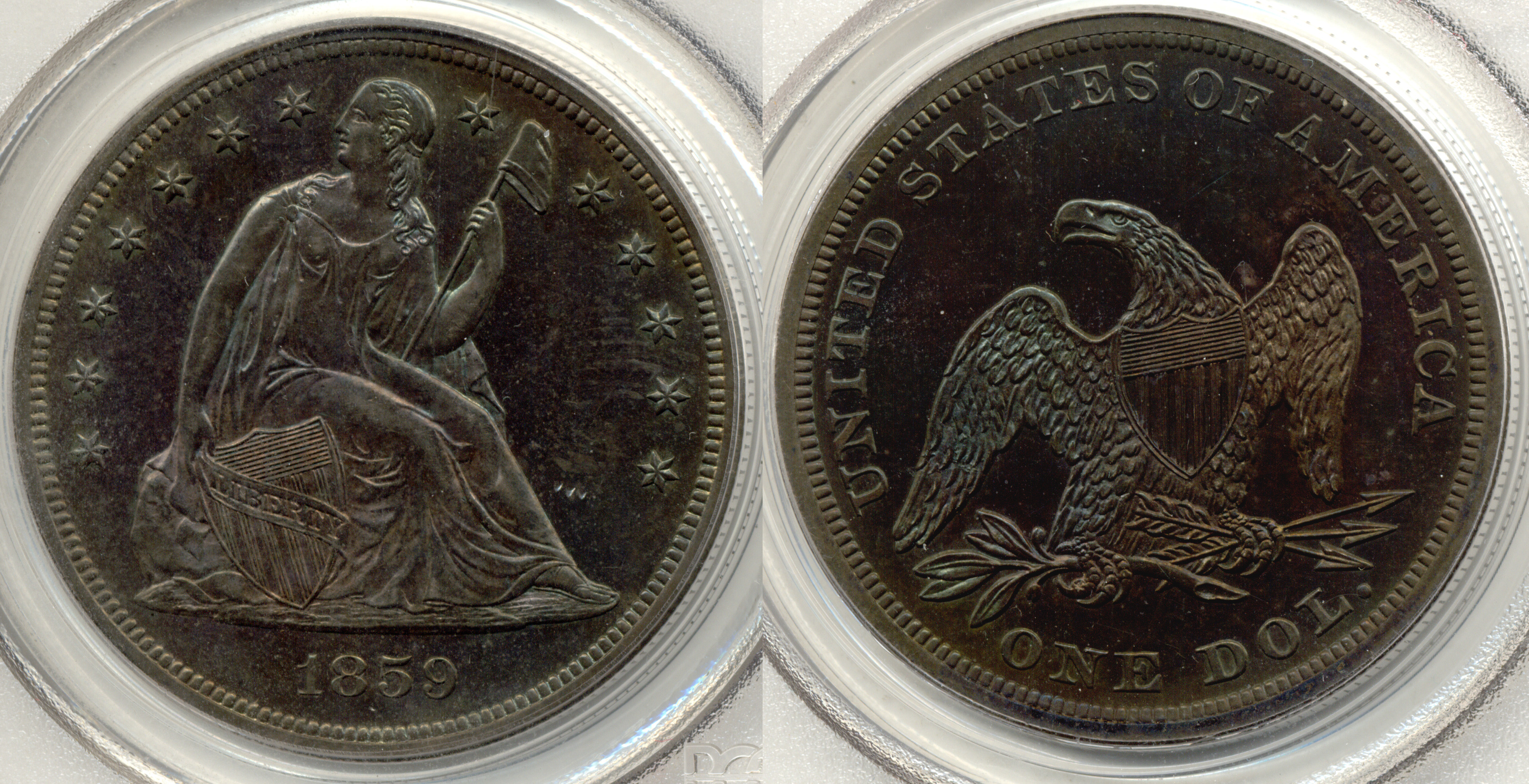 1859 Seated Liberty Silver Dollar PCGS Proof-64