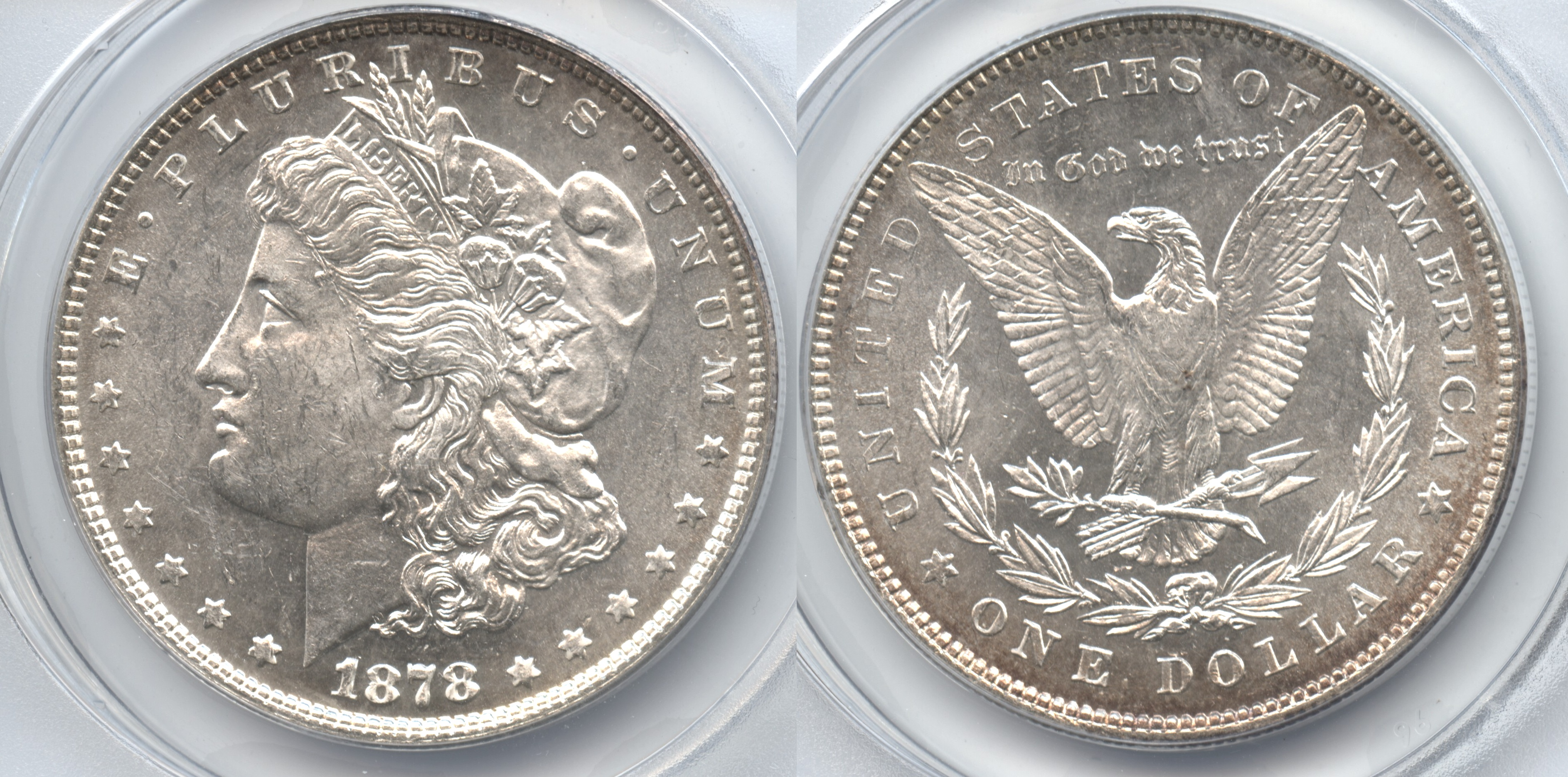 1878 7 Over 8 Tailfeathers Morgan Silver Dollar ANACS MS-62