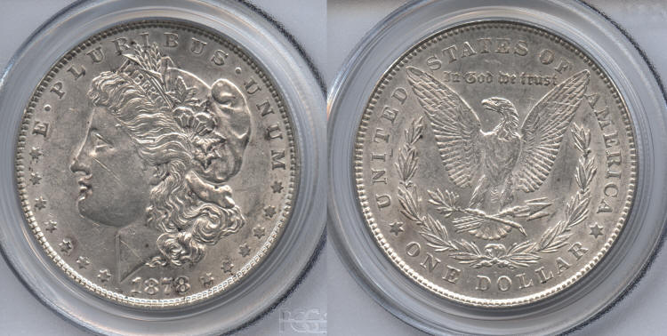 1878 7 Tailfeathers Morgan Silver Dollar PCGS AU-53 small