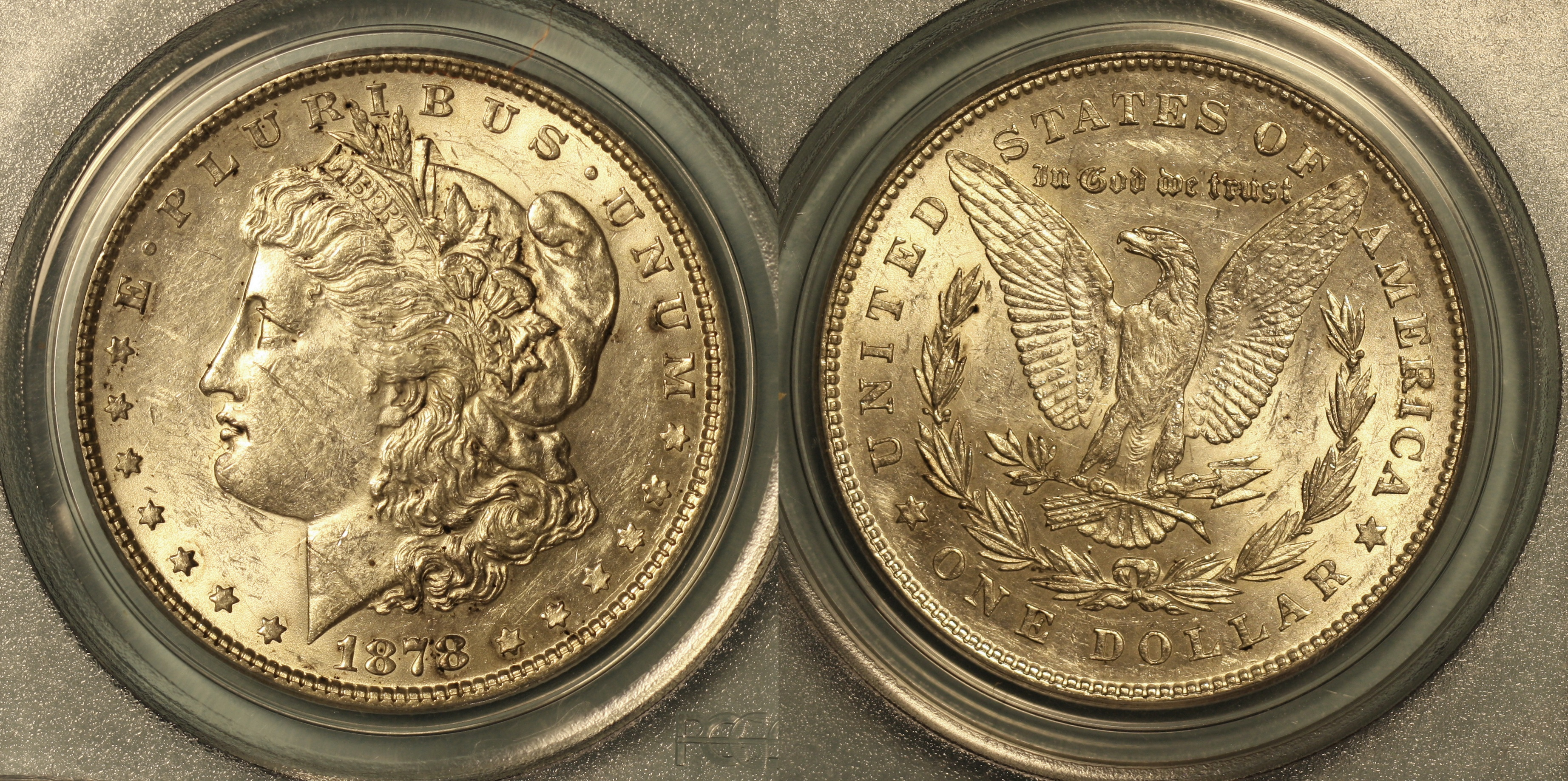 1878 7 Tailfeathers Morgan Silver Dollar PCGS AU-53 camera